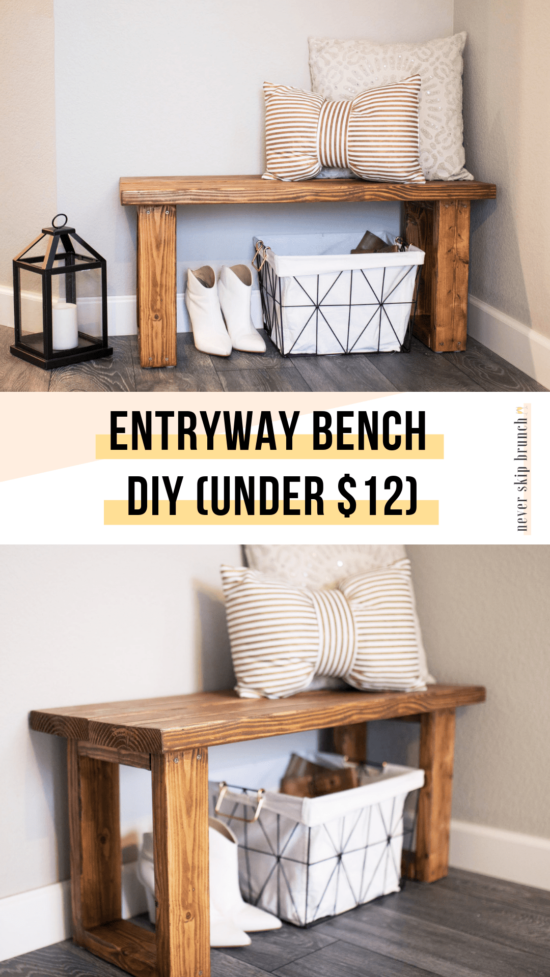 entryway bench diy small | entryway bench decor | entryway bench ideas | entryway ideas | entryway decor | DIY Bench DIY Furniture | never skip brunch by cara newhart #decor #DIY