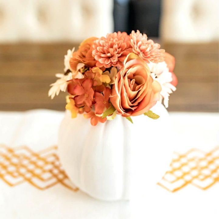 DIY Fall Floral Pumpkin Centerpiece