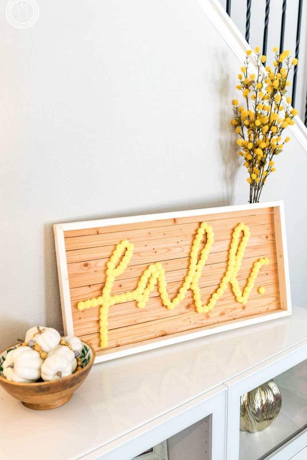 SO ADORABLE! fall sign wooden | fall sign pom pom | fall sign ideas | fall signs diy free printable | DIY Home decor ideas | Never Skip Brunch by Cara Newhart | #decor #diy #fall #neverskipbrunch