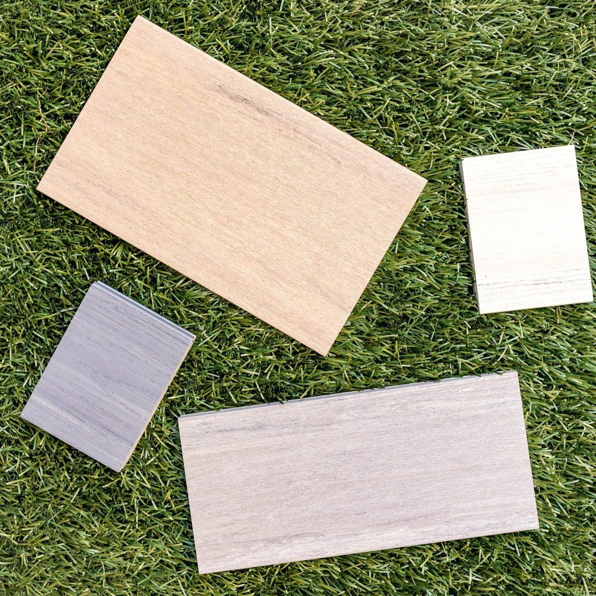 timbertech decking samples in varying widths and colors // tips for designing the perfect deck //  Never Skip Brunch by Cara Newhart