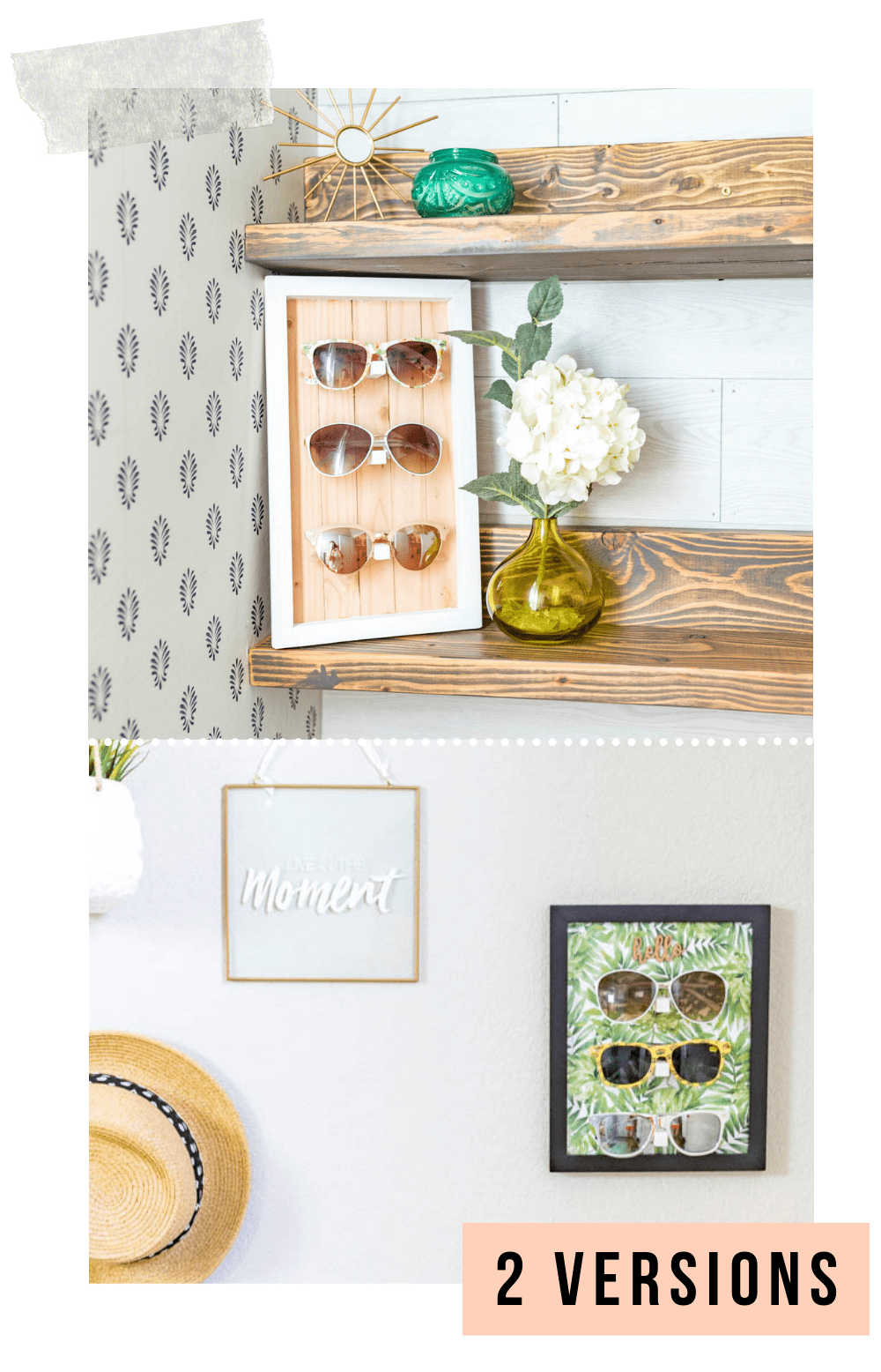 NO POWER TOOLS! sunglasses holder diy | sunglasses holder diy display | sunglasses holder wall | sunglasses holder wall storage ideas | diy sunglass display | siy sunglass holder | home decor | DIY Home decor ideas | Never Skip Brunch by Cara Newhart | #decor #diy #summer #neverskipbrunch