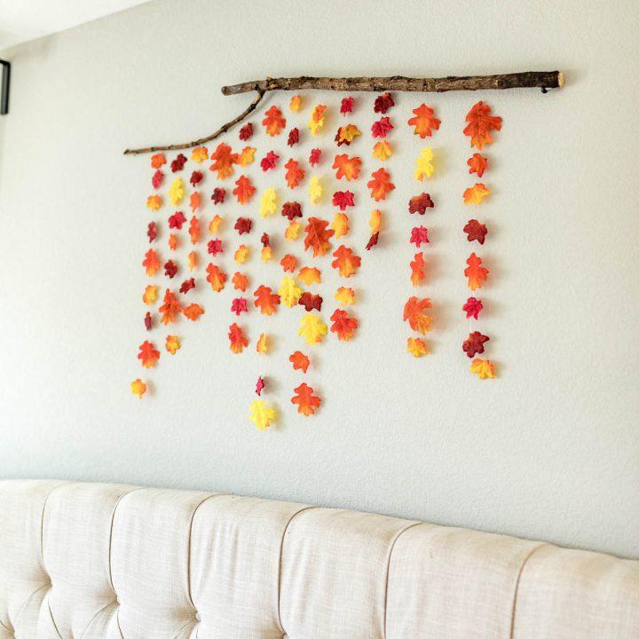 SUPER EASY FALL DIY! diy fall decor | fall decor ideas diy | fall leaf garland DIY | fall leaf wall hanging | diy fall decor with leaves | fall wall decor | Never Skip Brunch by Cara Newhart | #decor #diy #fall #neverskipbrunch