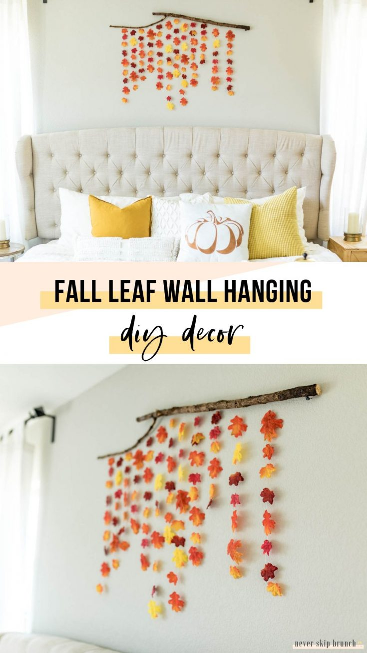 SUPER EASY FALL DIY! diy fall decor | fall decor ideas diy | fall leaf garland DIY | fall leaf wall hanging | diy fall decor with leaves | fall wall decor | Never Skip Brunch by Cara Newhart | #decor #diy #fall #neverskipbrunch