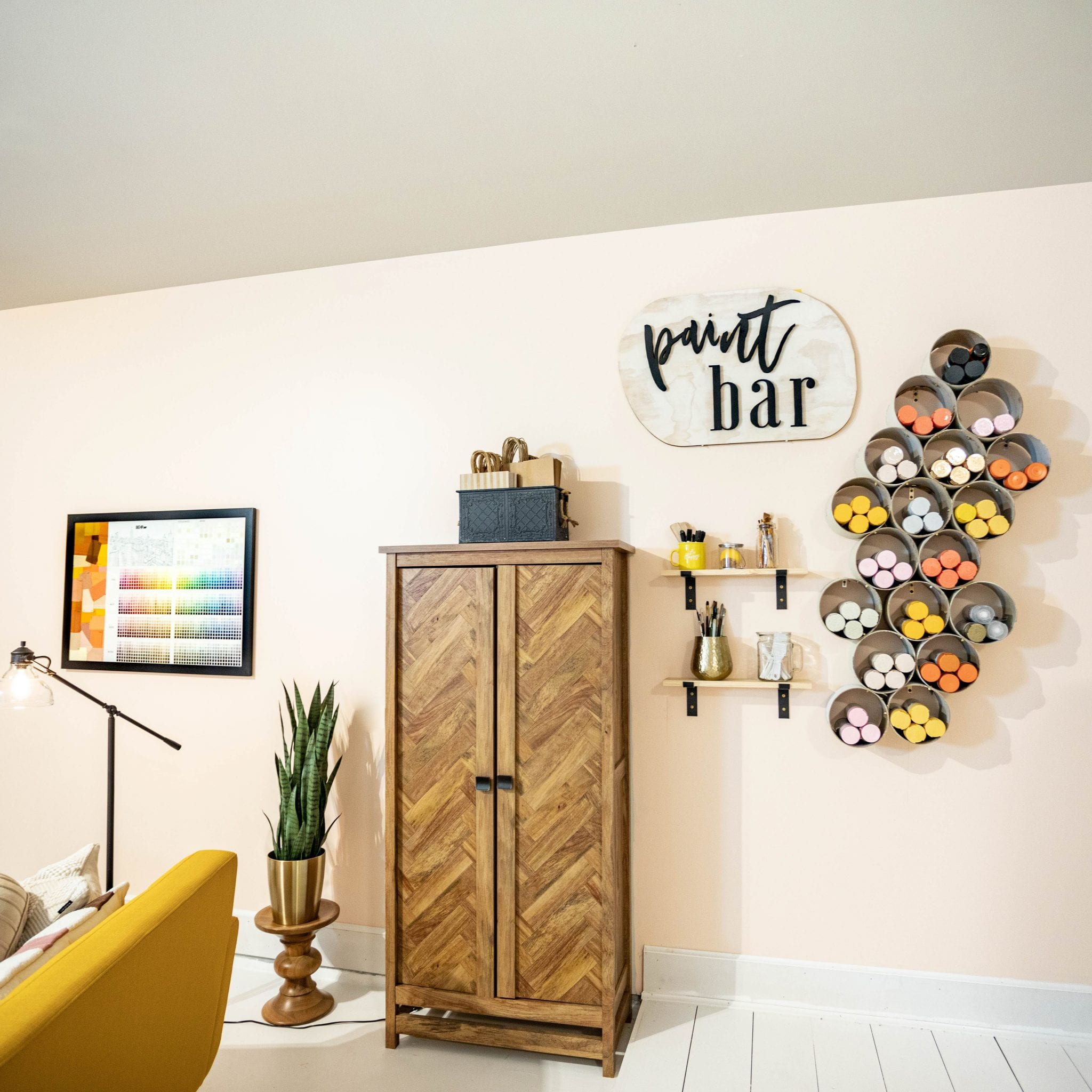SPRAY PAINT STORAGE | Paint storage DIY | Spray paint wall | storage ideas | Never Skip Brunch by Cara Newhart | #home #diy #decor #neverskipbrunch