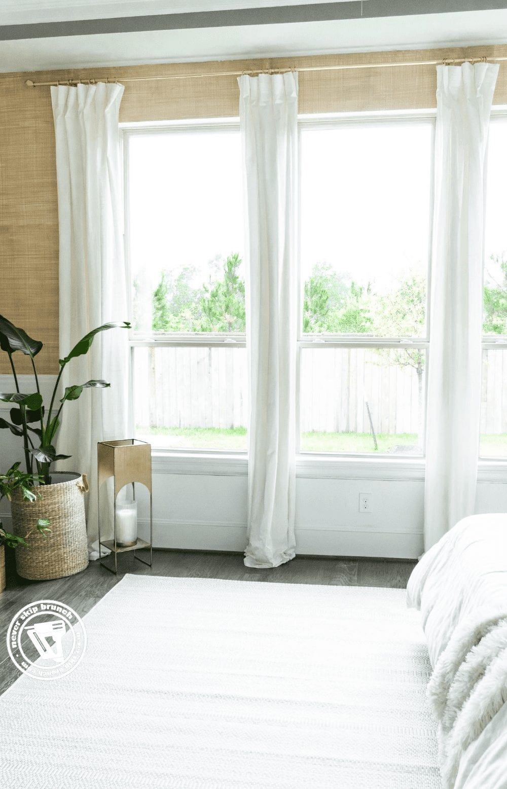 how to style curtains to make them look expensive, tips featured by top interior design blogger, Never Skip Brunch