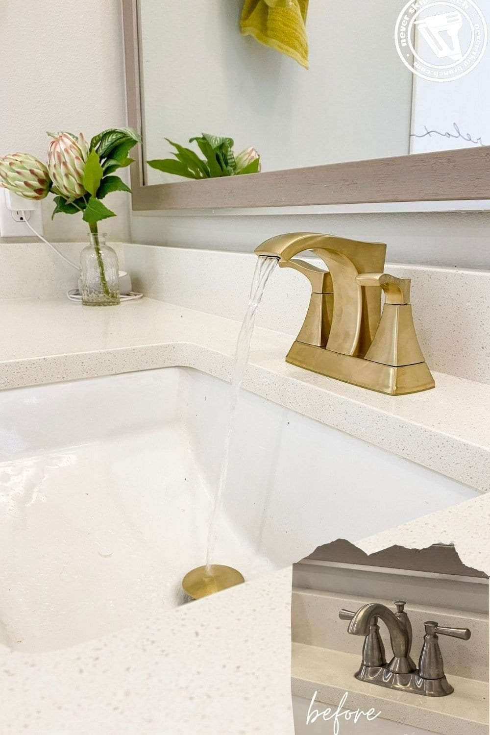how to replace a centerset bathroom faucet, a tutorial featured by top US DIY blog, Never Skip Brunch