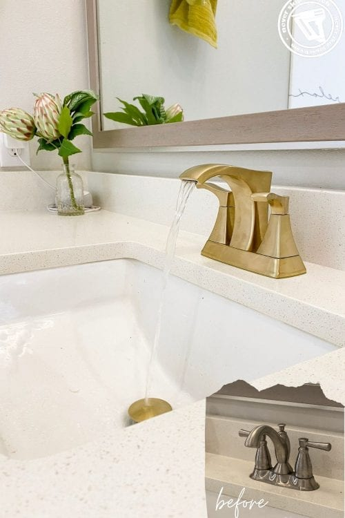 gold faucet upgrade: how to change a centerset bathroom faucet