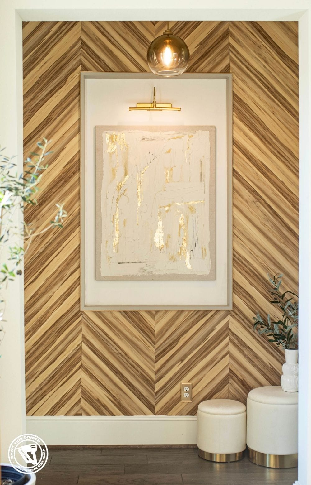 peel and stick wood wall diy featured by top US home blogger, Never Skip Brunch