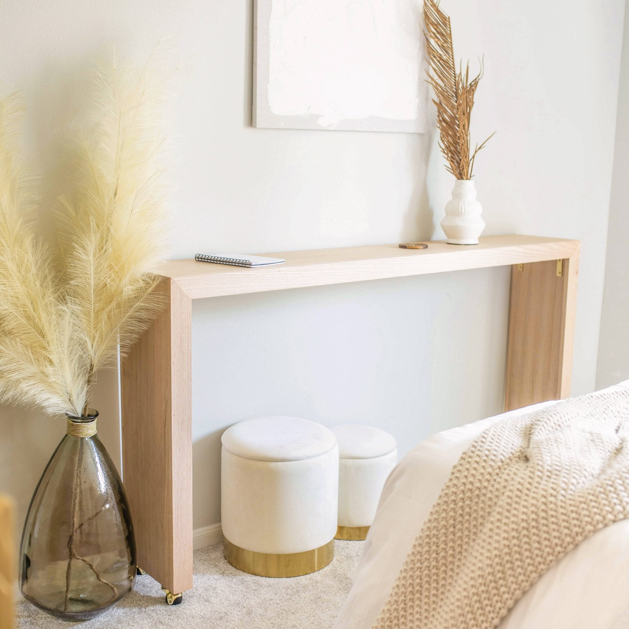diy console table with wheels, a tutorial featured by top US home blogger, Never Skip Brunch
