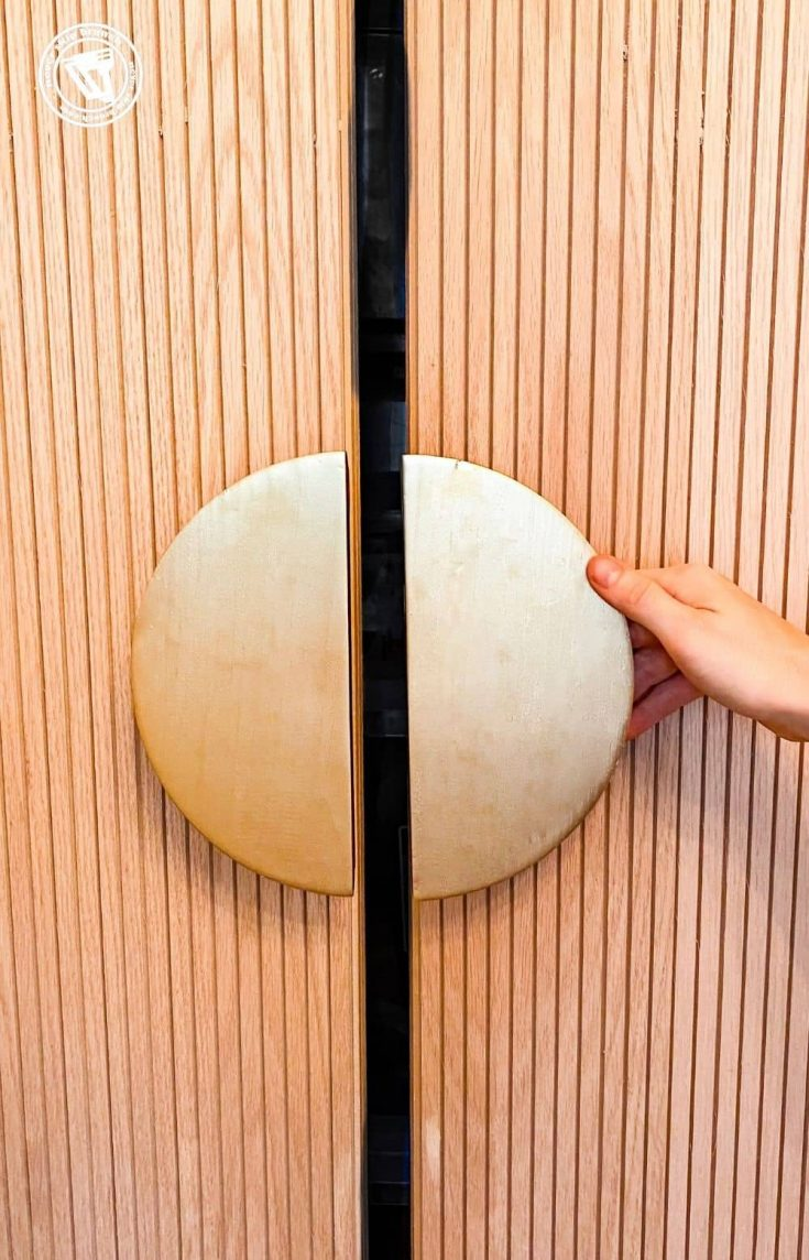 diy half moon handles for barn doors, a tutorial featured by top US home blogger, Never Skip Brunch