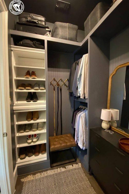 mens closet makeover — diy closet built ins + space transformation