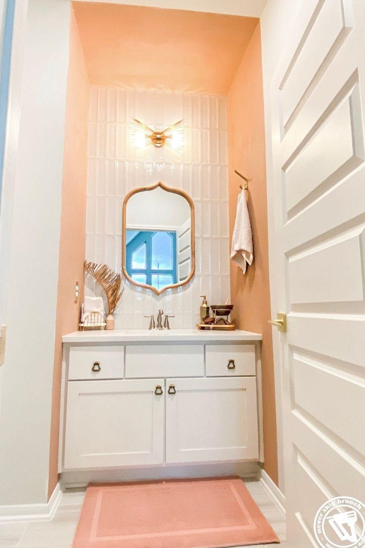 Powder Bathroom Makeover featured by top DIY blogger, Never Skip Brunch