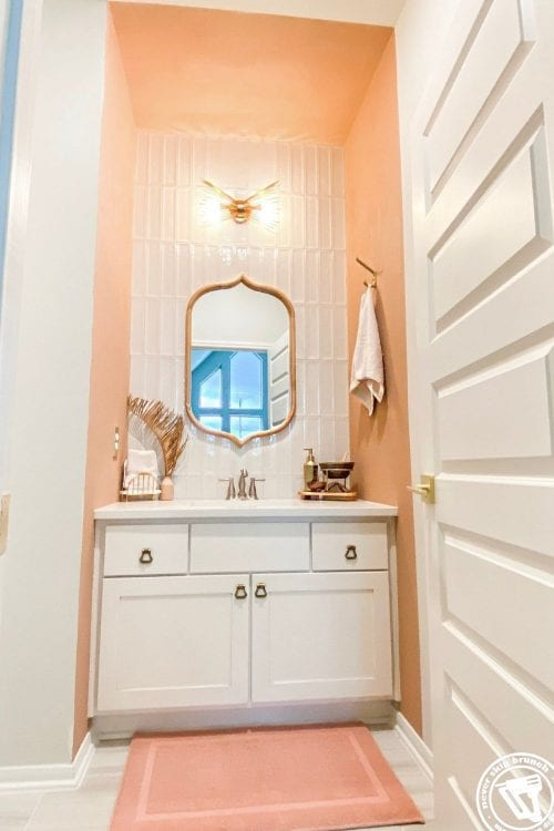powder bathroom makeover: how to diy tile + simple swaps [part 01]