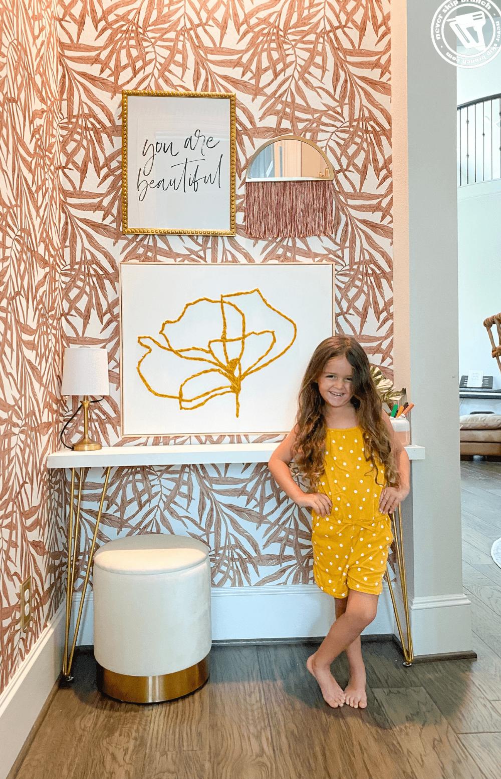 DIY homework station for kids, a tutorial featured by top US home DIY blogger, Never Skip Brunch