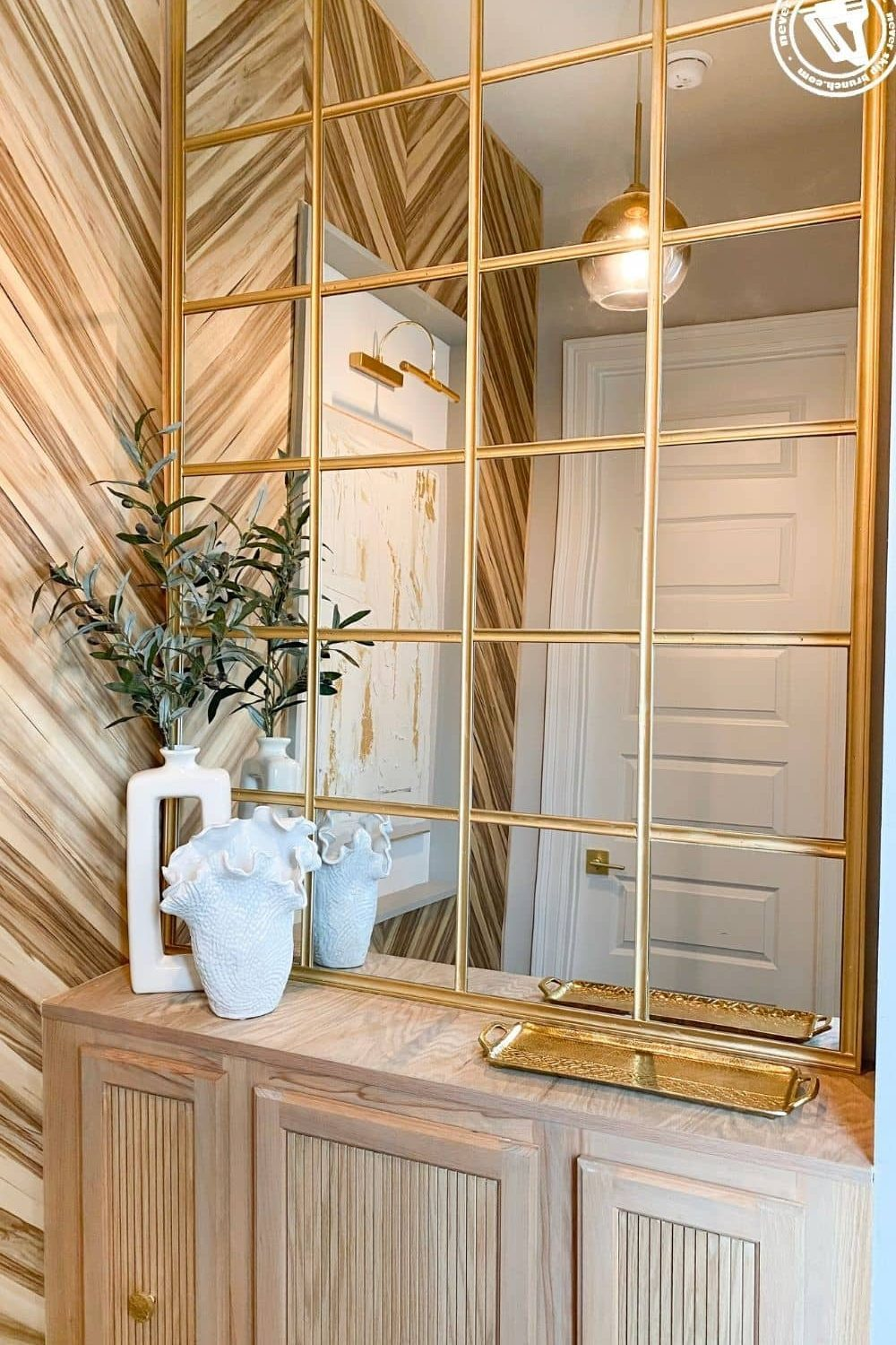 diy paneled mirror: easy DIY gold industrial mirror, a tutorial featured by top US home DIY blogger, Never Skip Brunch