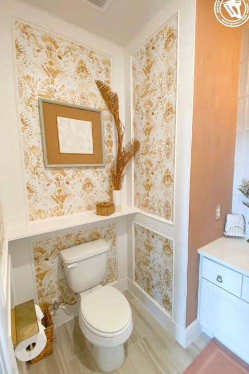 powder bathroom makeover — diy wall trim with wallpaper [part 02]