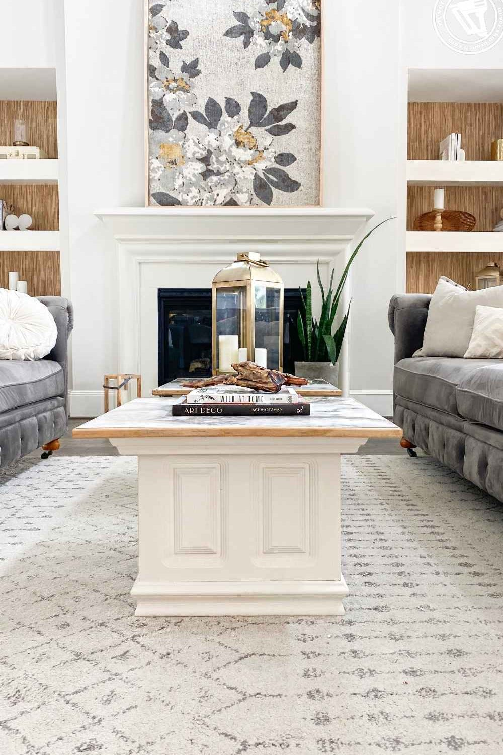 thrifted coffee table makeover featured by top US home DIY blogger, Never Skip Brunch