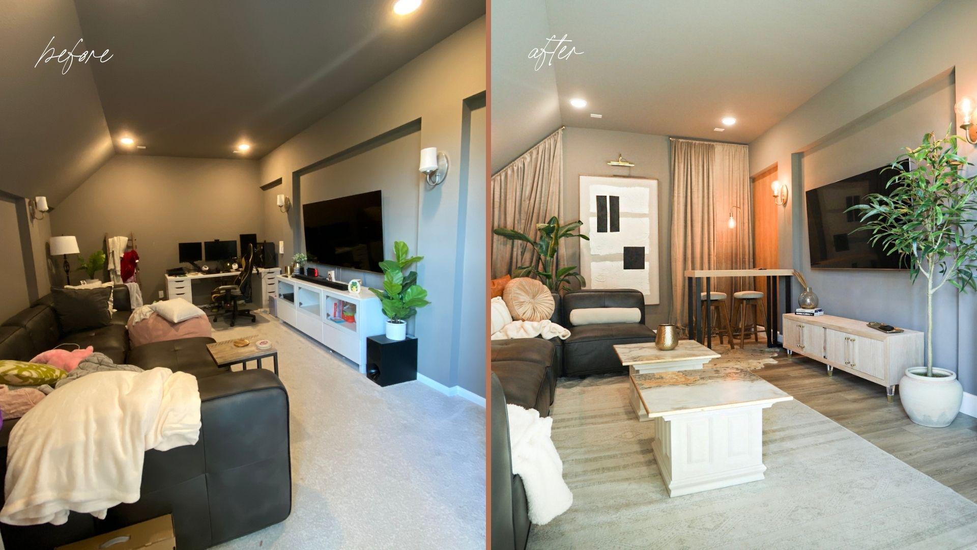 diy media room makeover project by top US home DIY blogger, Never Skip Brunch